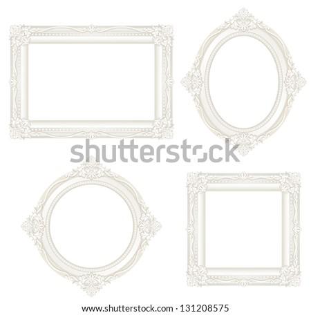 white antique frame. - stock vector