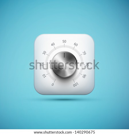 white app icon with music volume control knob, realistic metal texture, eps10 vector illustration - stock vector