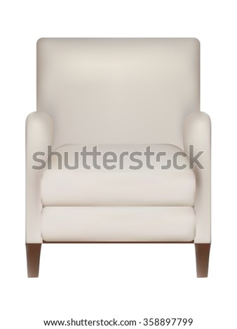 white armchair isolated on white background - stock vector