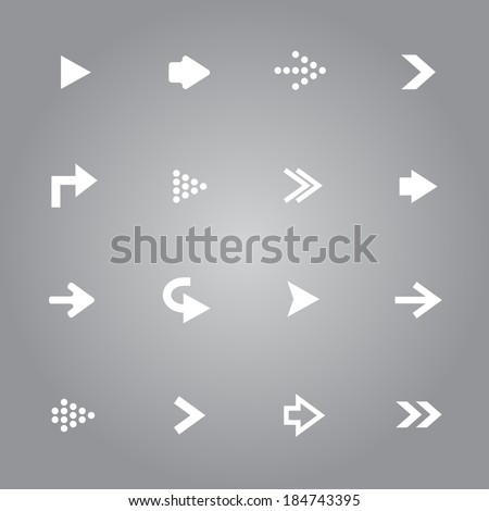 White arrow icons set collection - stock vector