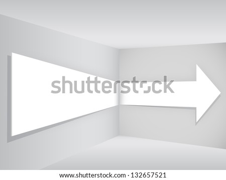 White arrow in the room corner - stock vector