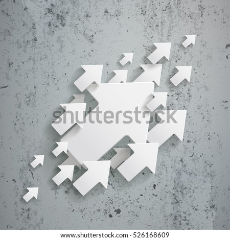 White arrows on the concrete background. Eps 10 vector file.