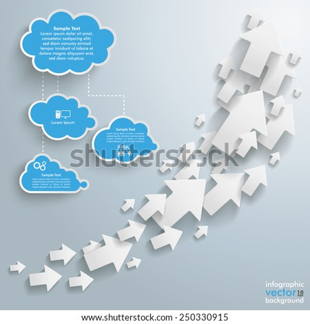 White arrows with blue clouds on the gray background. Eps 10 vector file. - stock vector