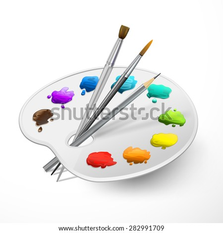 white art palette with brushes, pencil and paints - stock vector