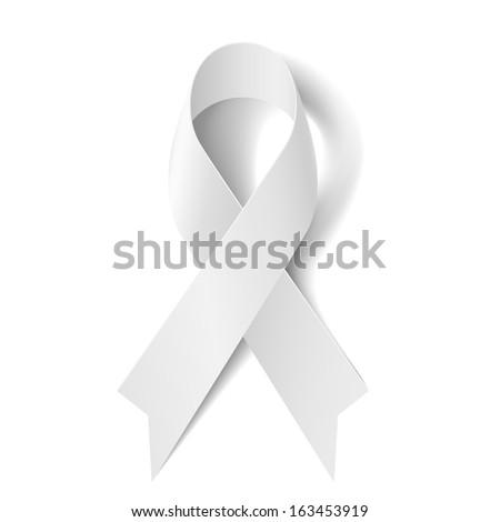 White awareness ribbon isolated on white background. - stock vector