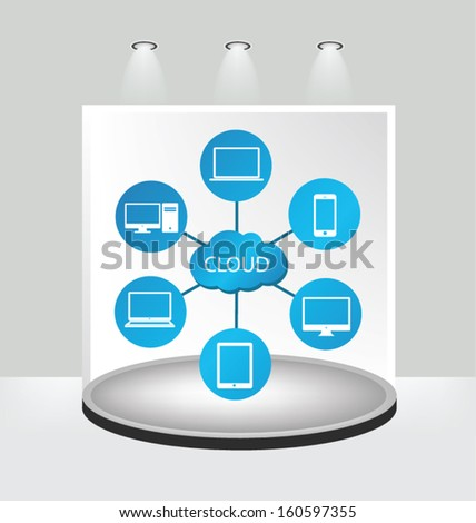 White backdrop in room. Cloud computing concept. Vector illustration.