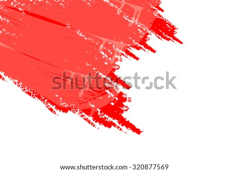 white background and red paint - stock vector