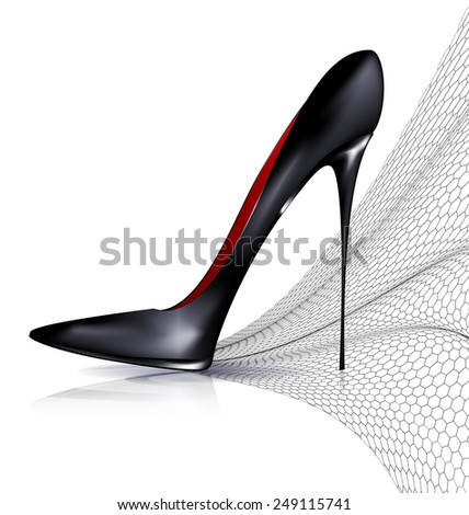 white background and the black ladys shoe with veil - stock vector