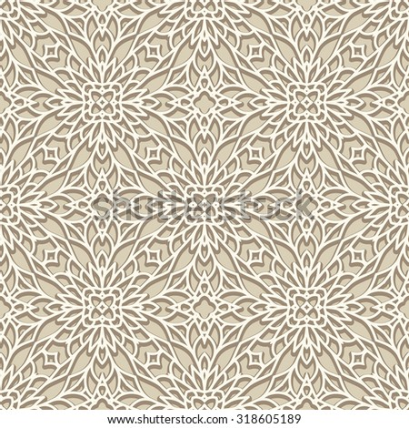 White background, vintage ornament, lace texture, vector seamless pattern in neutral color - stock vector