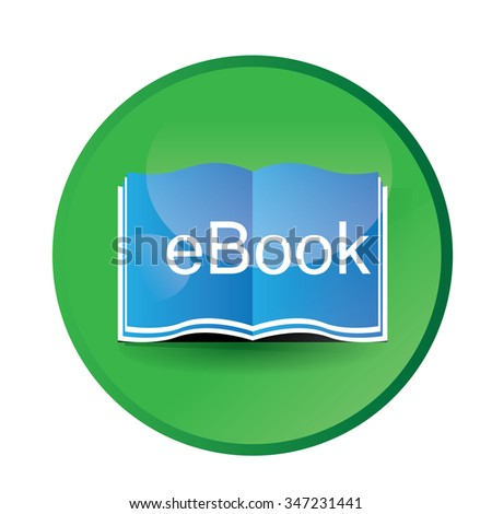 White background with a round badge and an e-book icon - stock vector
