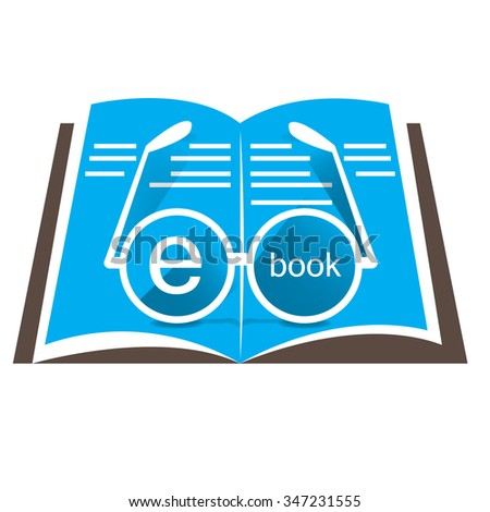 white background with an e-book icon and glasses - stock vector