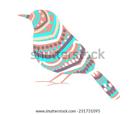 White background with bird and abstract pattern. Vector illustration - stock vector