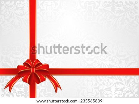 white background with  bow for gifts - stock vector