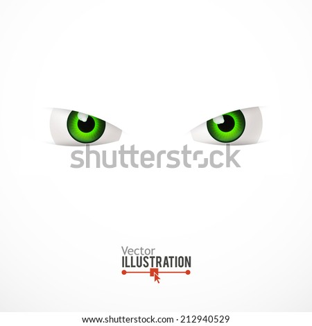 White background with cartoon eyes. Vector illustration.