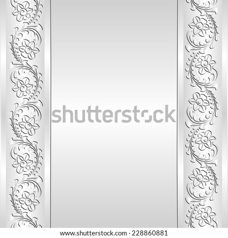 white background with floral border - stock vector
