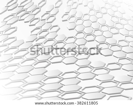 White background with hexagons figures - stock vector