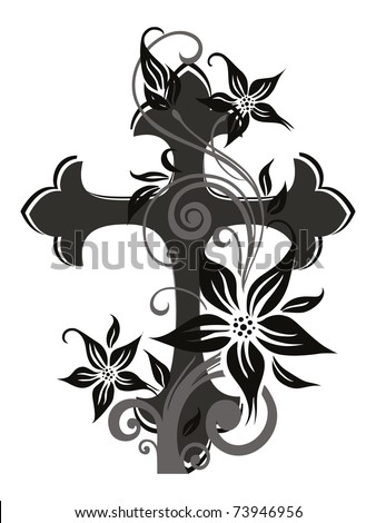 white background with isolated floral decorated cross - stock vector