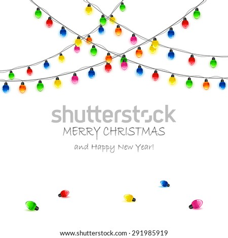White background with multicolored Christmas lights, illustration. - stock vector