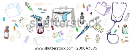 white background with objects of medicine
