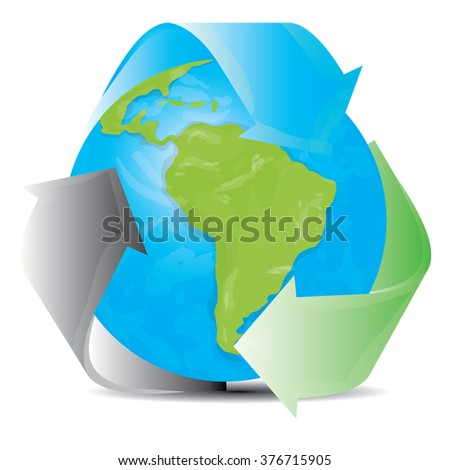 White background with our planet and a recyclable symbol