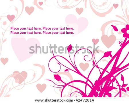 white background with pink floral, romantic heart