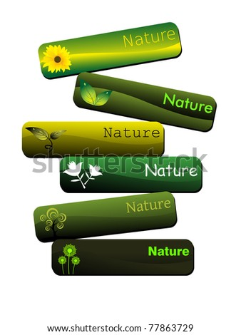 white background with set of six nature concept header, vector illustration - stock vector