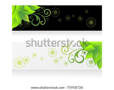 white background with set of two ecology header, illustration - stock vector