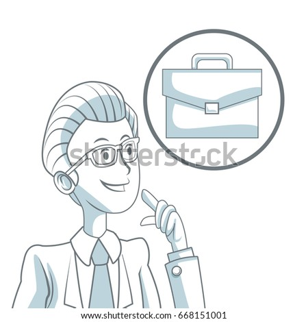 white background with silhouette color sections shading of businessman and icon portfolio