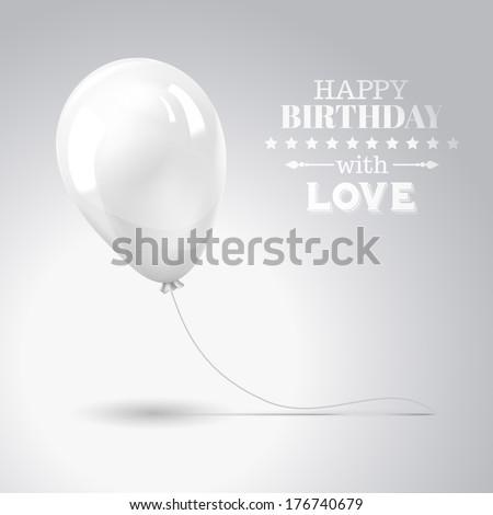 White balloon isolated on gray. Vector illustration. - stock vector