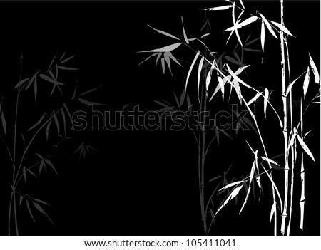 White Bamboo branches on black background. Japanese bamboo branches elements in asian ornament style. - stock vector