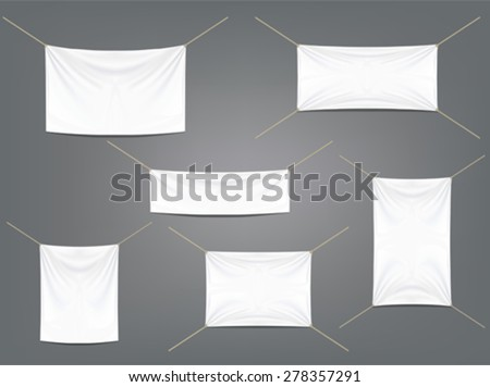 White banners with garters set - stock vector