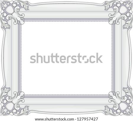 White Baroque Frame Stock Vector 127957427 - Shutterstock