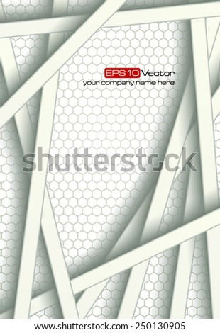 White bars over bright honeycomb structure. Abstract technology background. Vector illustration - stock vector
