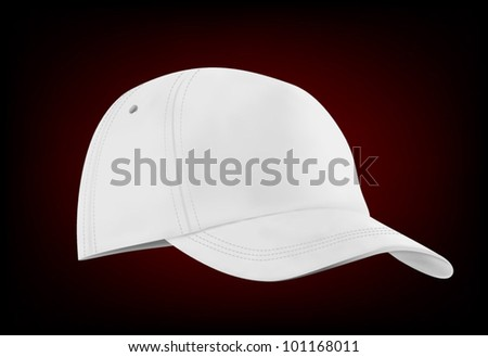 White baseball cap template isolated on black. Front view. - stock vector