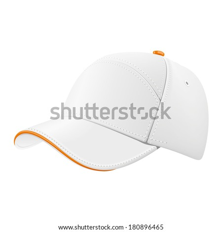White baseball cap with a colored border for drawing a logo or brand name. - stock vector