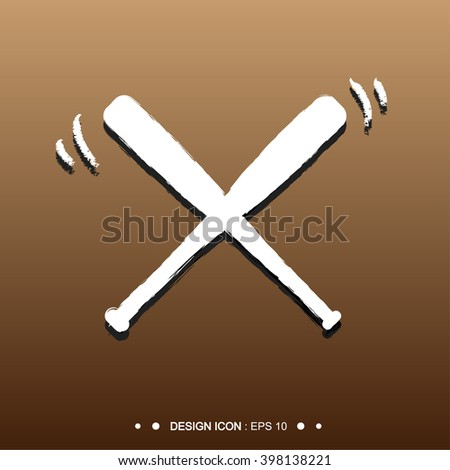 White Baseball Crossed Bats Vector EPS10, Great for any use. - stock vector