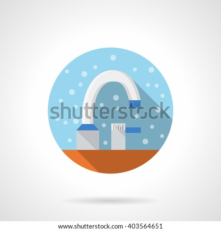 White bathroom tap. Washing equipment. Bathroom equipment. Bubbles style. Flat color round vector icon. Element for web design, business, mobile app.  - stock vector