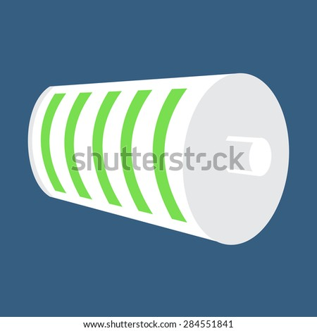 White Battery Icon. Full Battery Charge Status. Green Level Indicator. Vector Illustration - stock vector