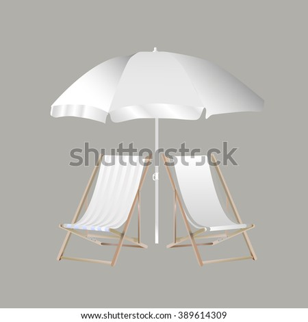White beach umbrella and chaise lounges on a gray background - stock vector