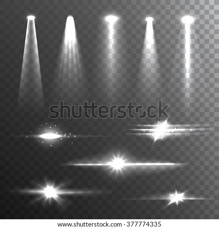 White beam lights set of different shapes and projections gleaming in the darkness banner abstract vector illustration   - stock vector