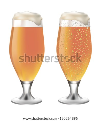 White beer in glass with drops on white background vector