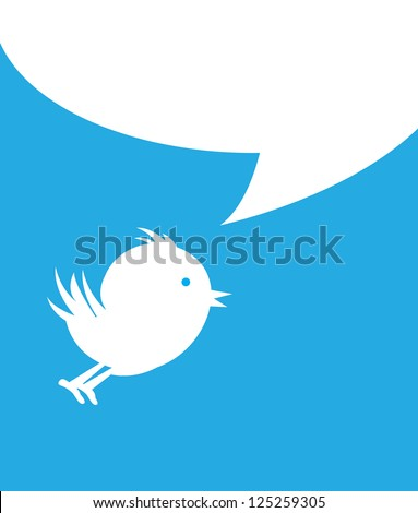 white bird with white bubble over blue background vector illustration - stock vector