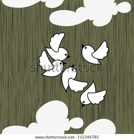 White Birds - stock vector