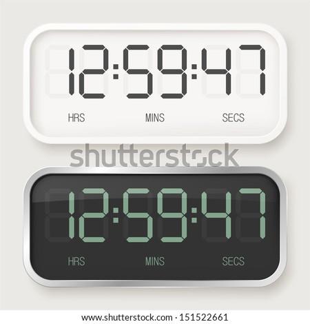 White & black digital watch - stock vector