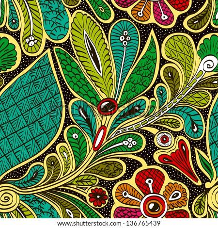 white, black, green, ethnic; pattern; Persia; seamless - stock vector