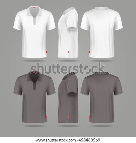 White black mens polo t-shirt front back and side views vector mockups. Template fashion tshirt for sport illustration - stock vector