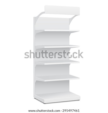 White Blank Empty Showcase Displays With Retail Shelves Products On White Background Isolated. Ready For Your Design. Product Packing. Vector EPS10 - stock vector