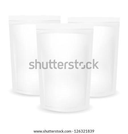 White Blank Foil Food Bag Packaging - stock vector