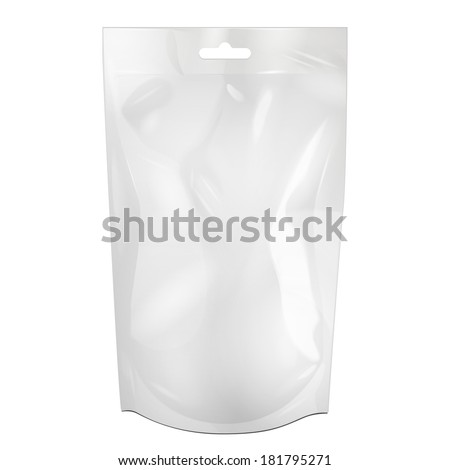 White Blank Foil Food Or Drink Bag Packaging With Hang Slot Blister. Plastic Pack Template Ready For Your Design. Vector EPS10 - stock vector