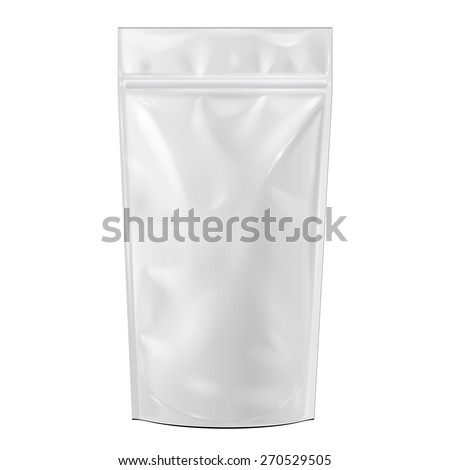White Blank Foil Food Or Drink Doypack Bag Packaging. Mock Up Template Ready For Your Design. Product Packing Vector EPS10 - stock vector